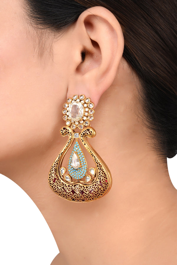 Silver Gold Plated Phuwari Turquoise White Glass Earrings