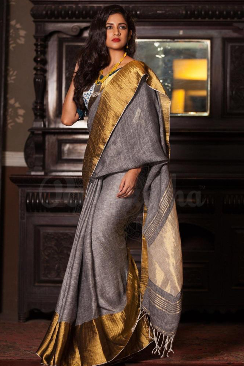 Fire and ice linen saree