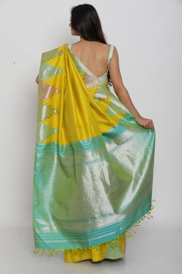 Yellow and Green Temple Border Kanjiveram Saree