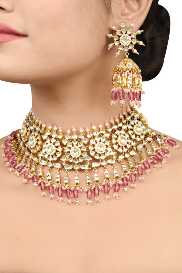 Silver Gold Plated Apsara Flower Pink Glass Necklace Set