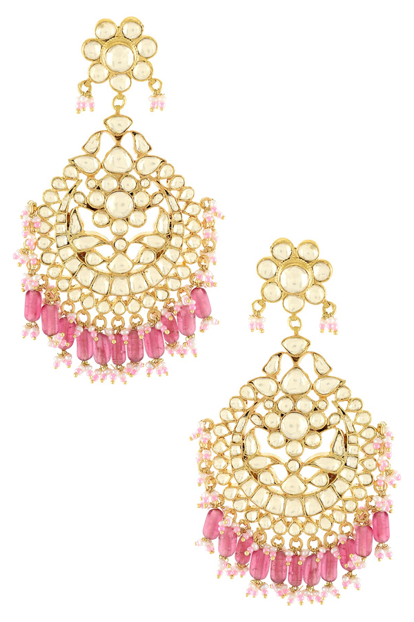 Silver Gold Plated Apsara Flower Pink Glass Chandbali Earrings