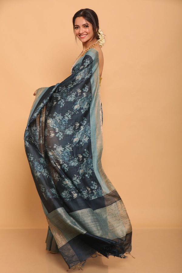 Blue Printed Floral Tussar Saree