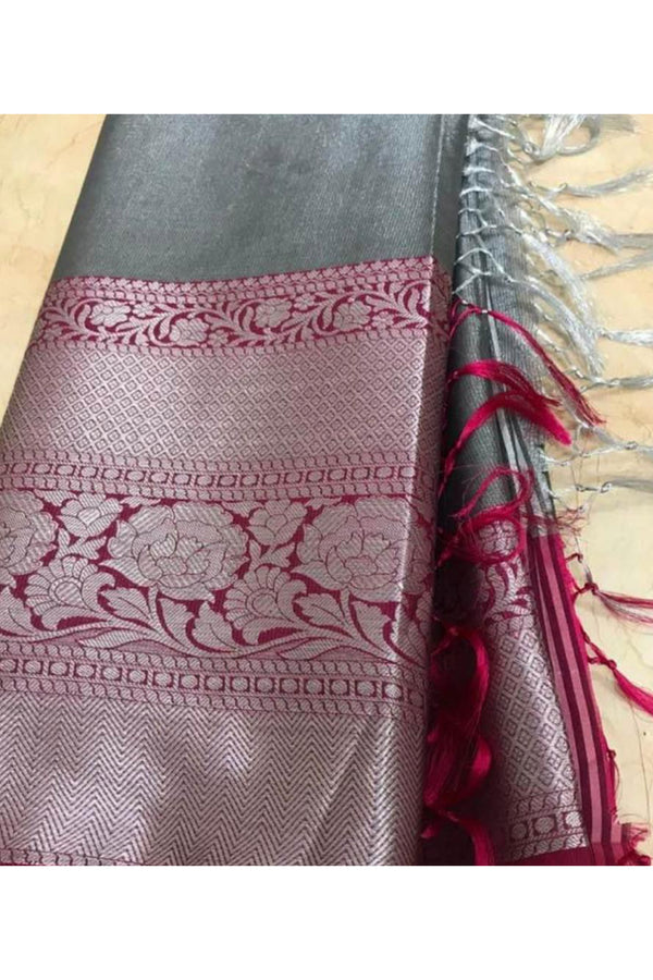 Grey and maroon art silk benarasi saree