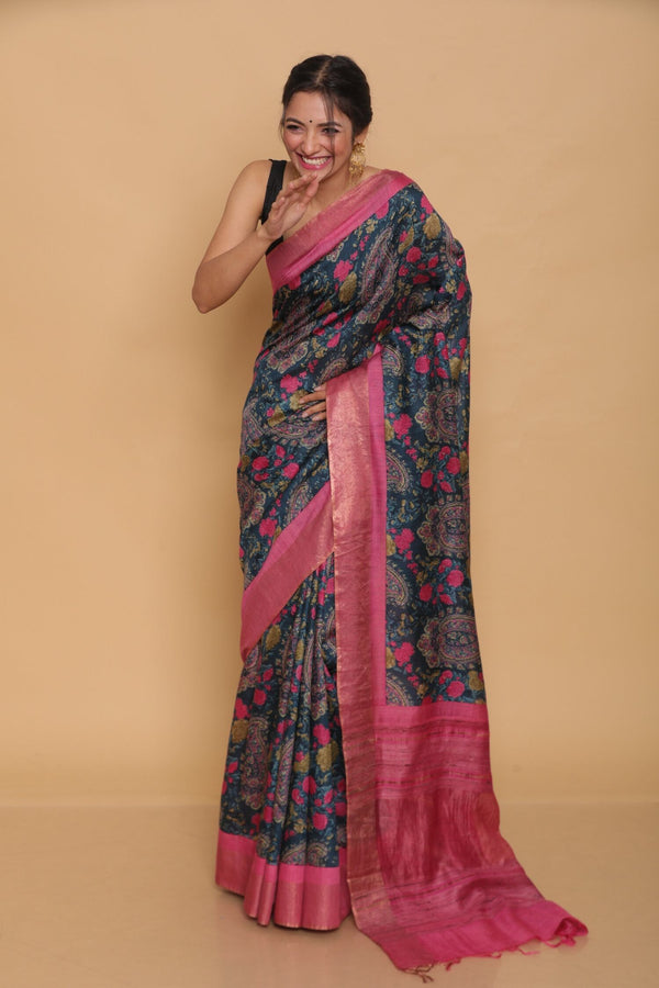 Blue Printed Paisley Tussar Saree