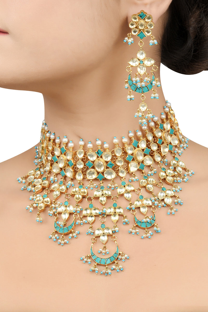 Silver Gold Plated Apsara Turquoise White Chand Necklace Set