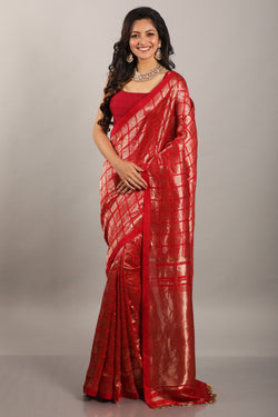 Soumitra red handwoven saree