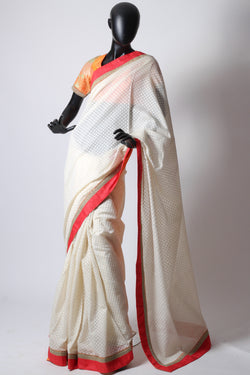 White dhakai saree with stitched blouse