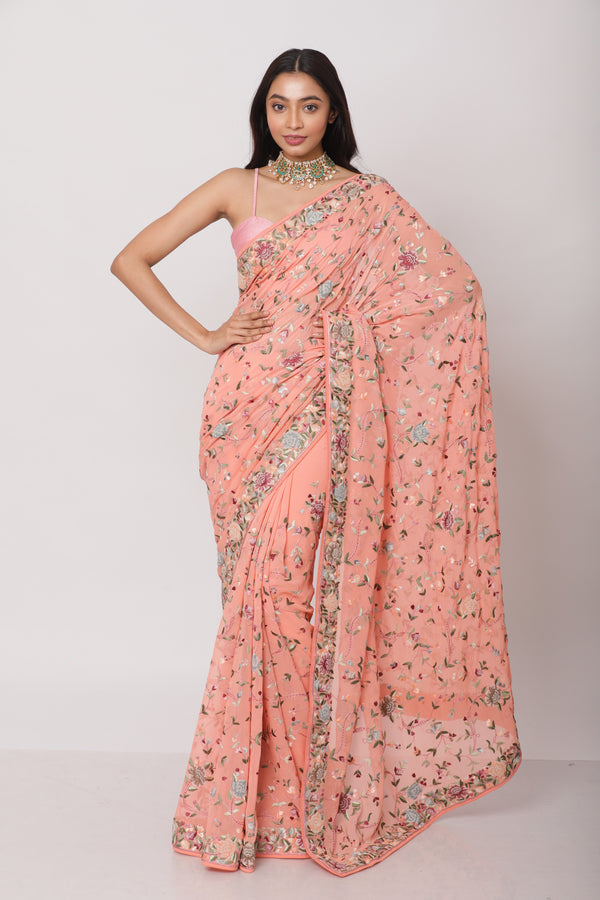 Peach Georgette Gara Parsi Saree