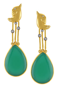 Silver Gold Plated Bird Green Pear Drop Earrings