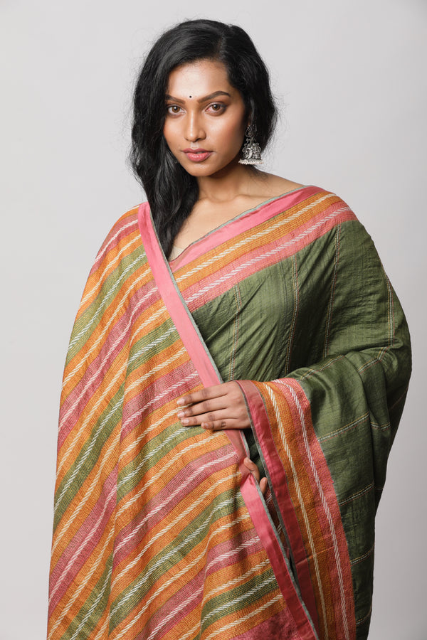 Green Tussar Kantha Saree