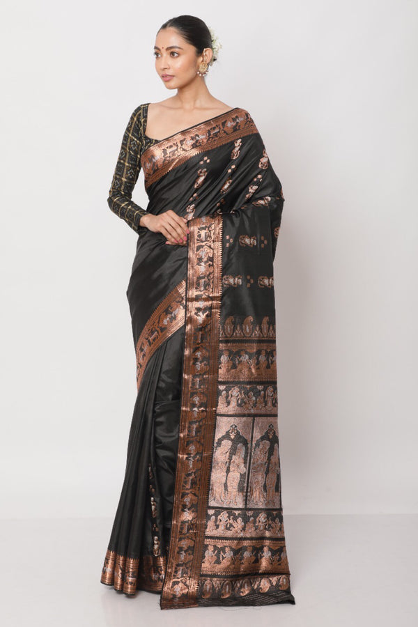 Black and Copper Baluchari Saree