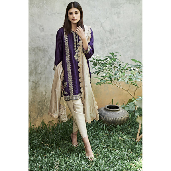 Purple Short Kurta Set With Dhoti Pants and Narrow Dupatta