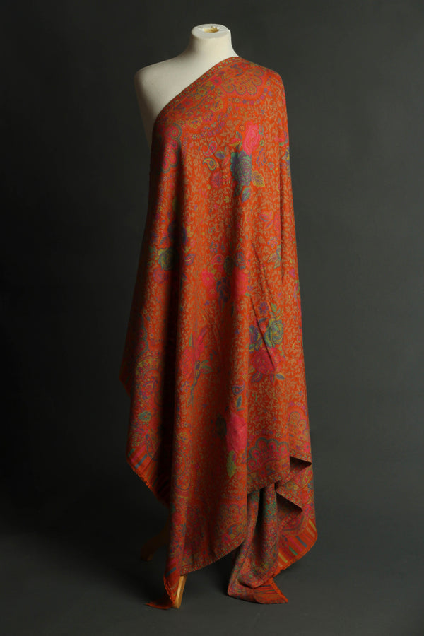 Orange Gulabo Kani Wool Shawl