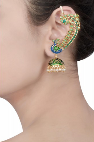 Silver Gold Plated Turquoise Peacock Jhumki Earcuffs