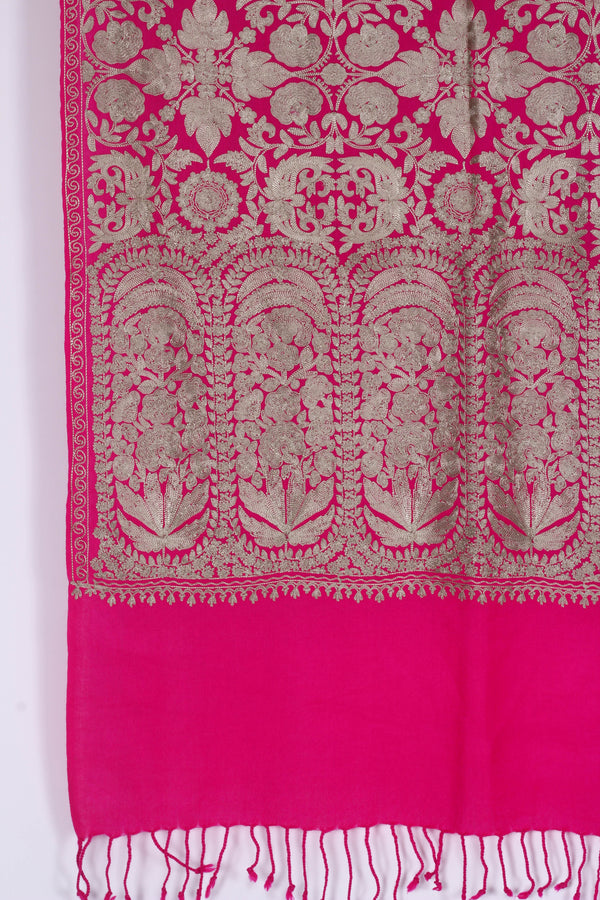 Pink Wool Embroidered Shawl