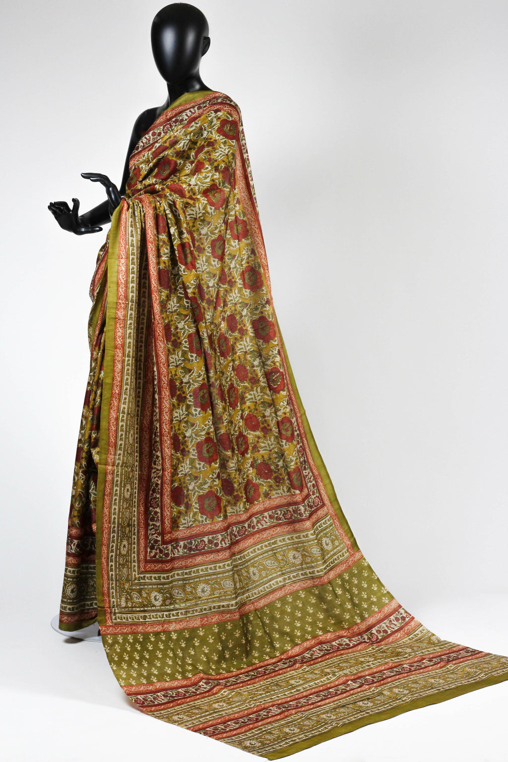 Printed tussar saree
