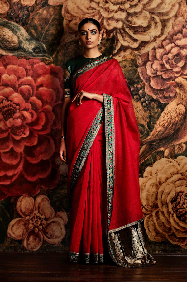 Red striper saree with bird blouse