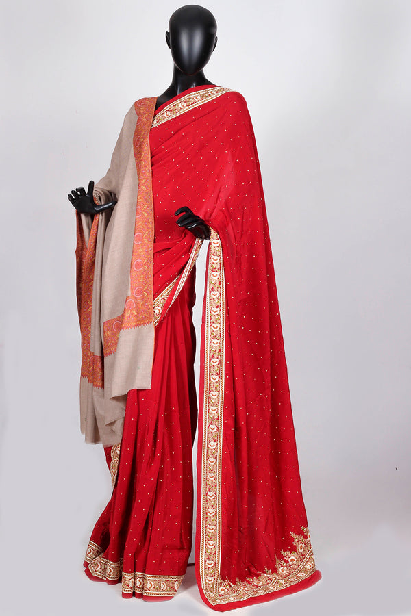 Red crepe georgette saree with kashmiri embroidered border