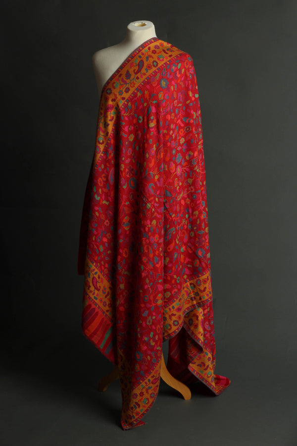 Red Wool Kani Shawl