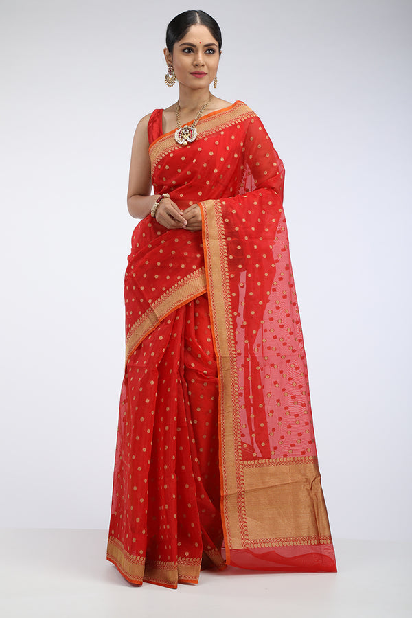 Red Kora Silk Benarasi Saree