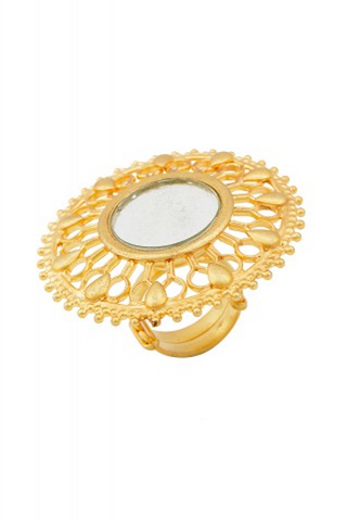Silver Maharani Fountain Mirror Ring