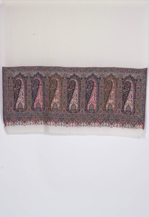 White kani wool shawl with paisley motifs