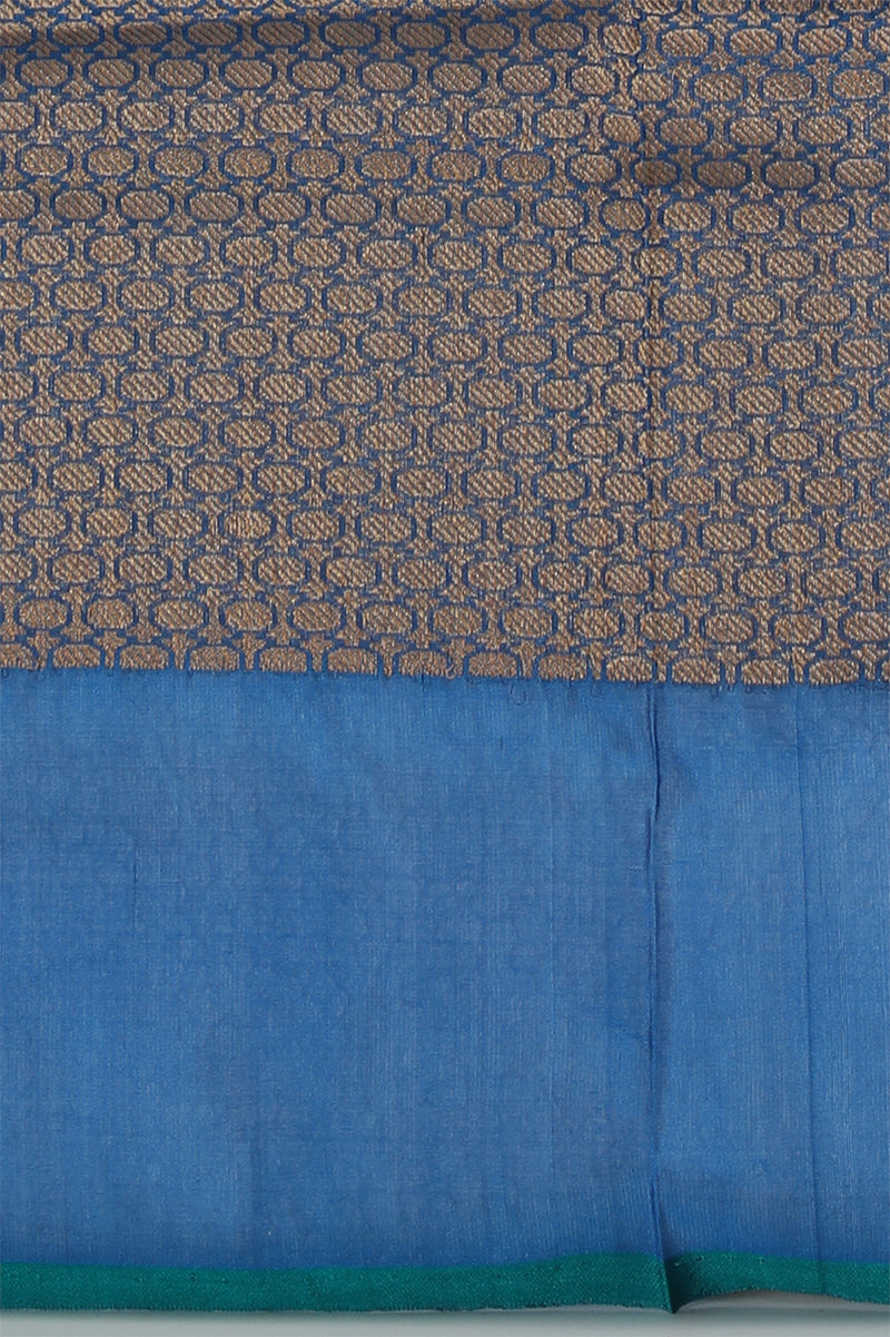 Peacock gingham woven benarasi silk saree