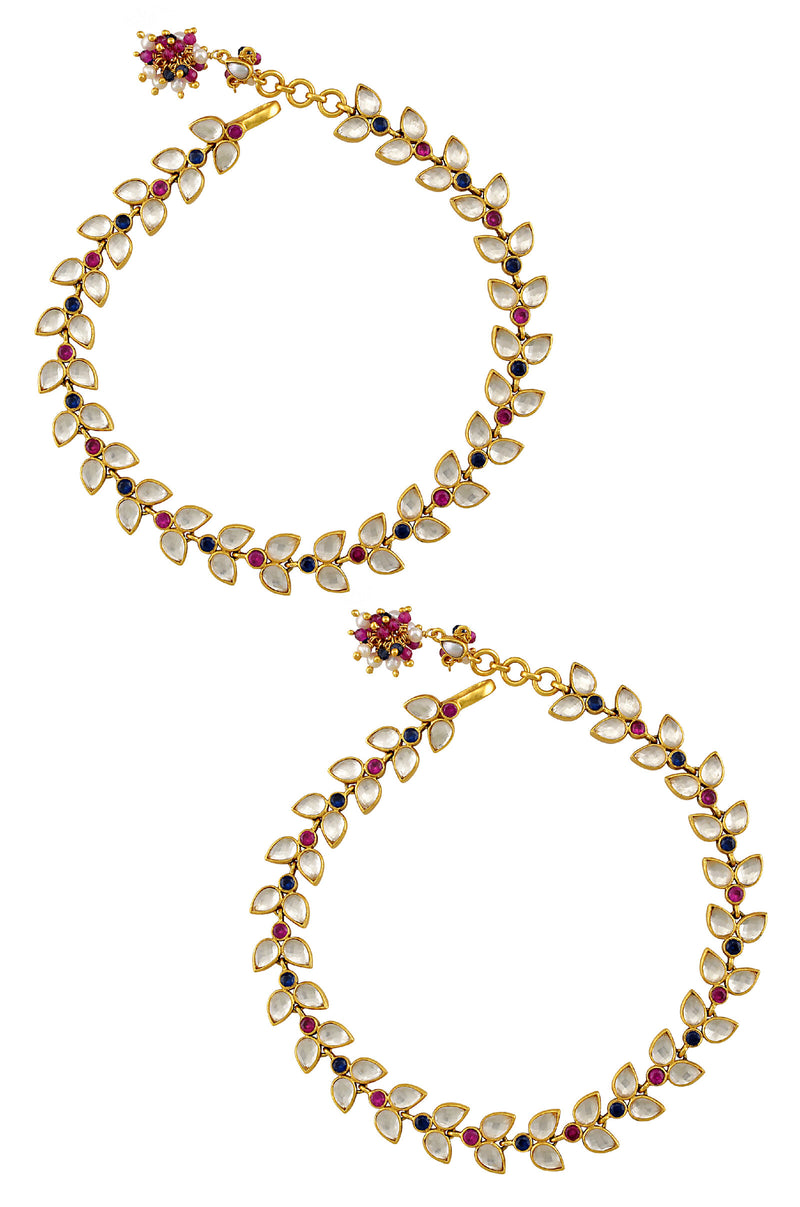 SILVER GOLD PLATED CRYSTAL LEAFY CLUSTER ANKLET