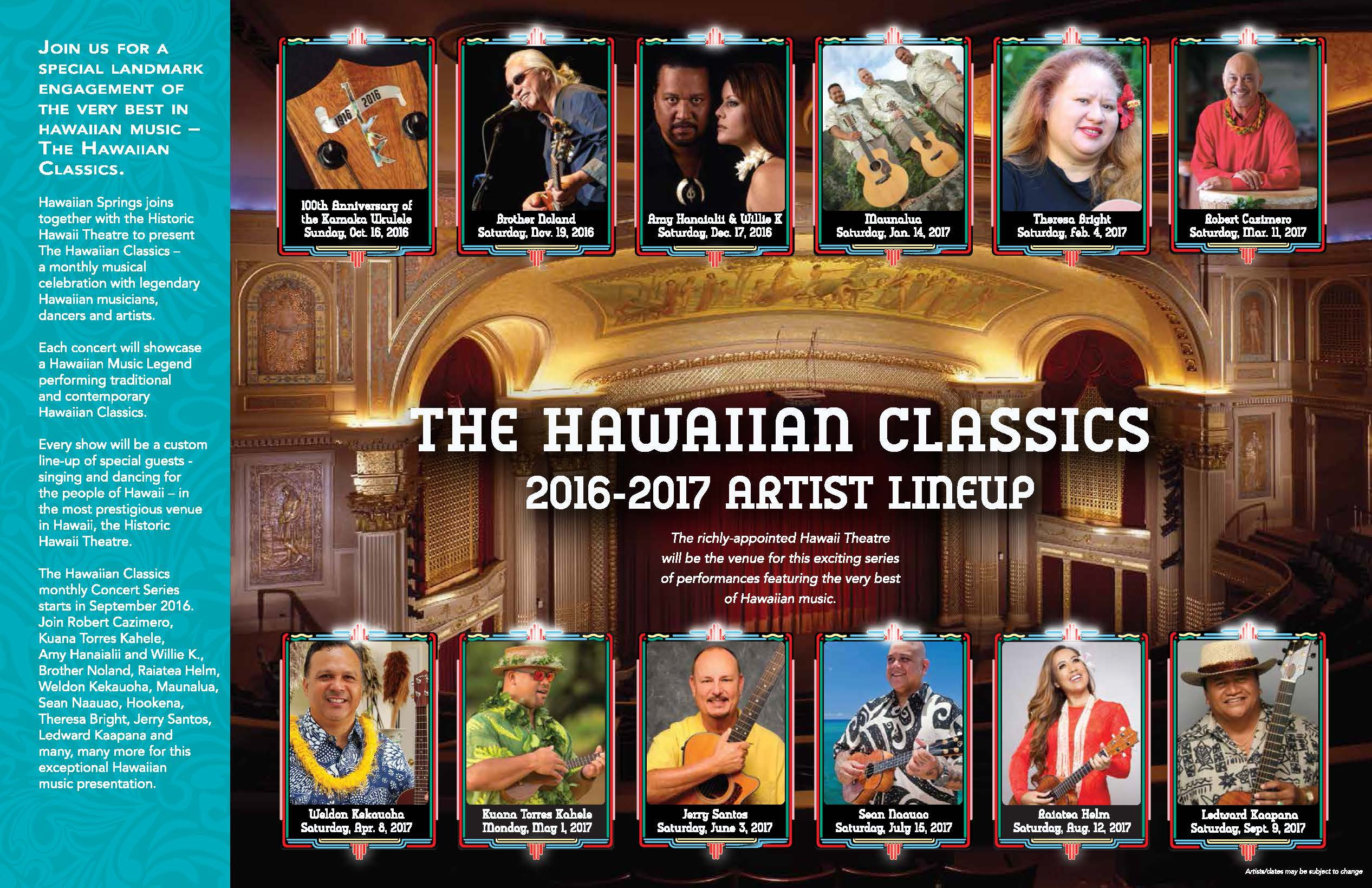 The Hawaiian Classics at the Hawaii Theatre Presented by Hawaiian Springs