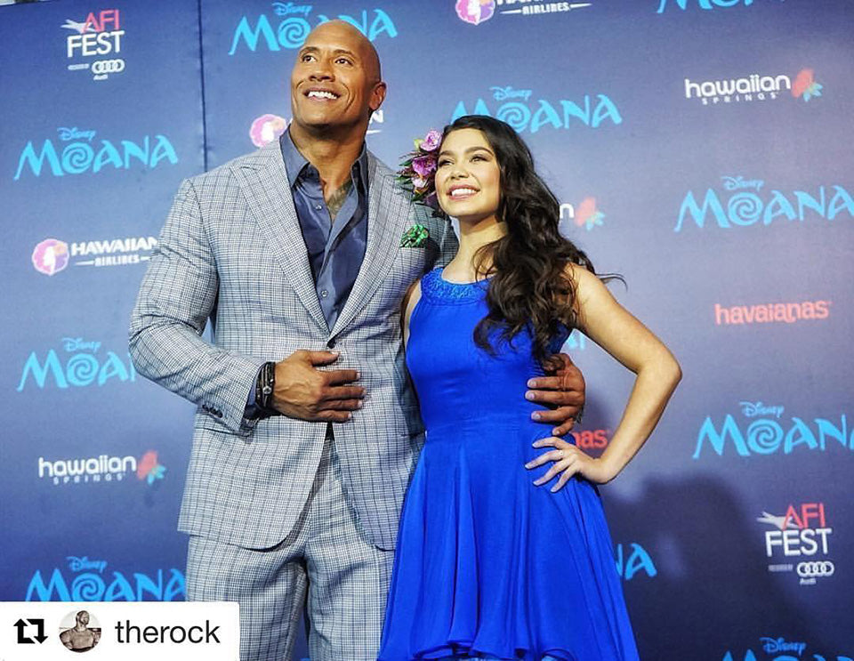 Dwayne Johnson and Aulii Carvalho Moana Premiere