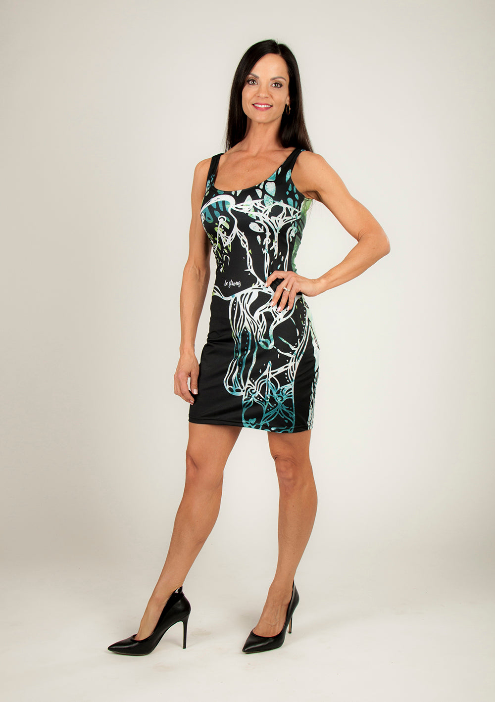 Be Strong Bodycon Dress - Wearable Art by Kristina Benson Art (Elephant illustration on acrylic painting)