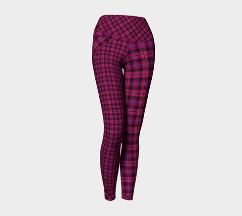 Tartan with a Twist, Pink - Yoga Leggings