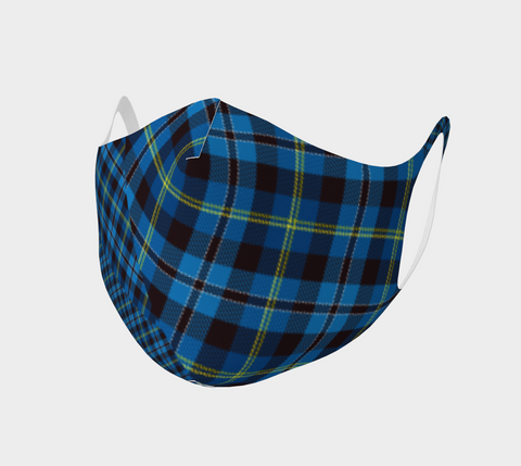 Tartan with a Twist, Blue - Face Covering - Double Knit Poly