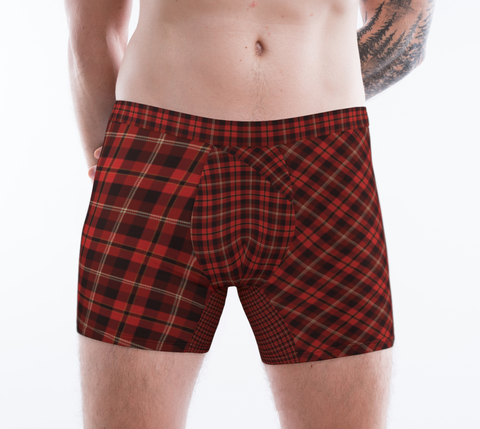 Tartan with a Twist, Red - Men's Boxer Briefs
