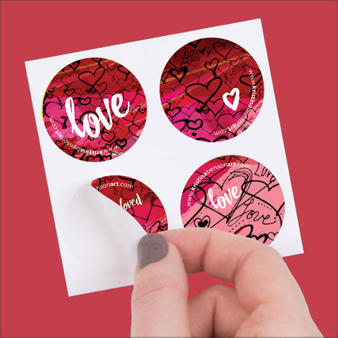 Love Hearts - Round Stickers