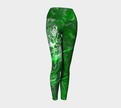 MEDIUM - Canada Marble, Green - Yoga Leggings
