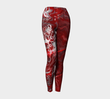 LARGE - Canada Marble, Red - Yoga Leggings