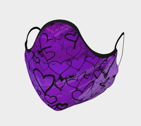 Love Hearts Purple - Face Covering - Cotton Sateen