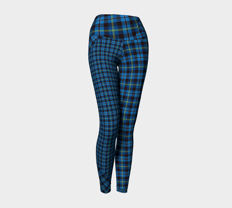 Tartan with a Twist, Blue - Yoga Leggings