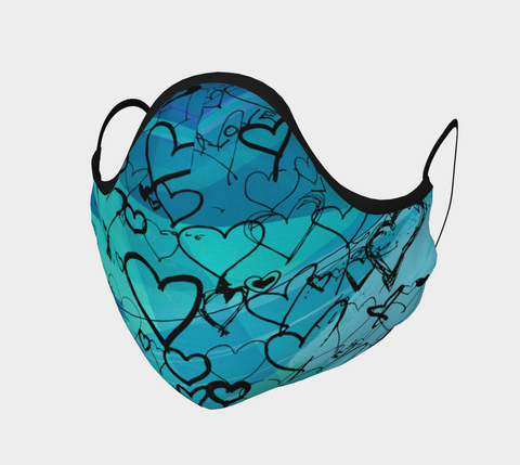Love Hearts Turquoise - Face Covering - Cotton Sateen