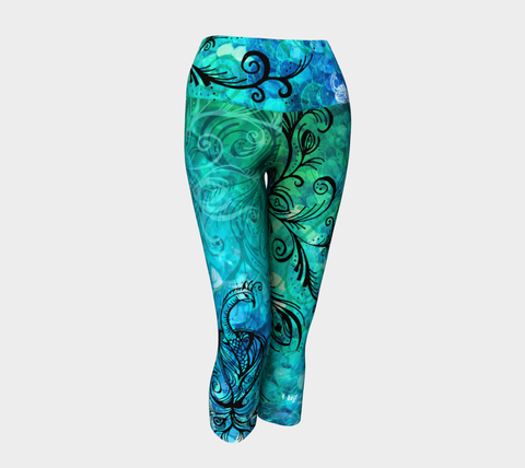 LARGE - I Rise, Blue - Yoga Capris