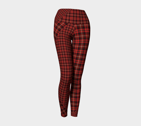 Tartan with a Twist, Red - Yoga Leggings