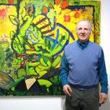 Gus Sermas with his oil painting at Cerulean Arts