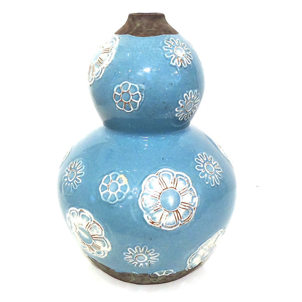 Blue Ceramic Vase with Flowers