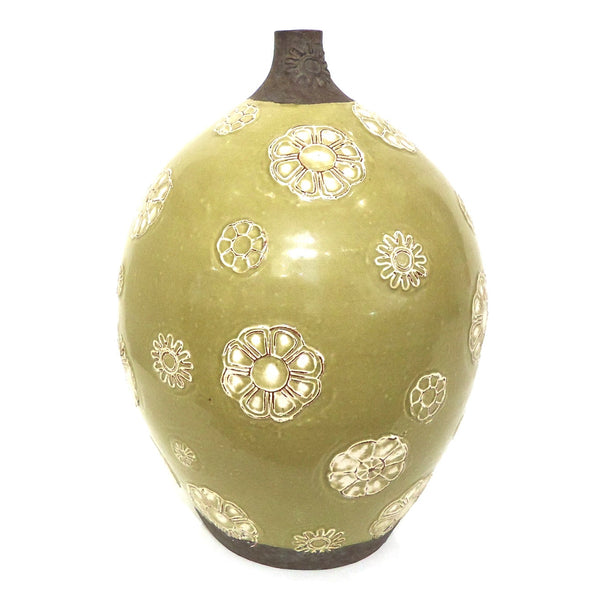 Green Ceramic Vase with Flowers
