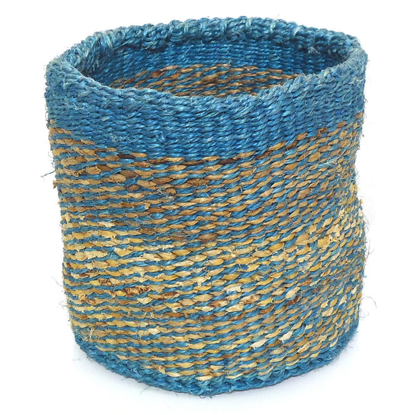 Sisal Cylinder Basket, Small Blue