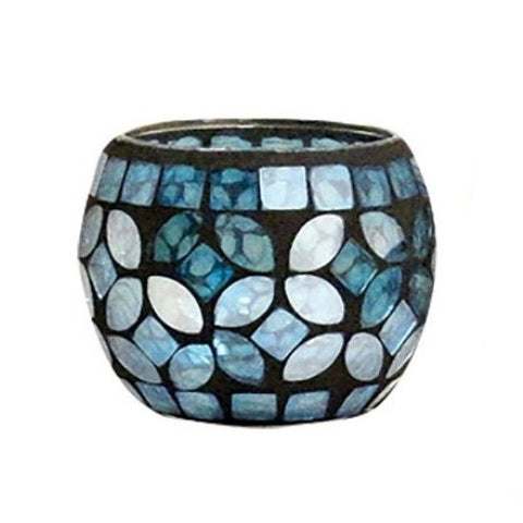 Mosaic Votive, Nautical Blue