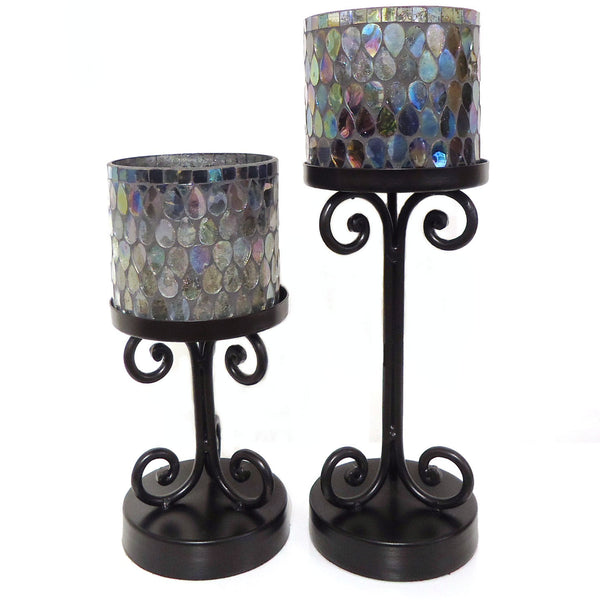 Mosaic & Iron Pillar Holder