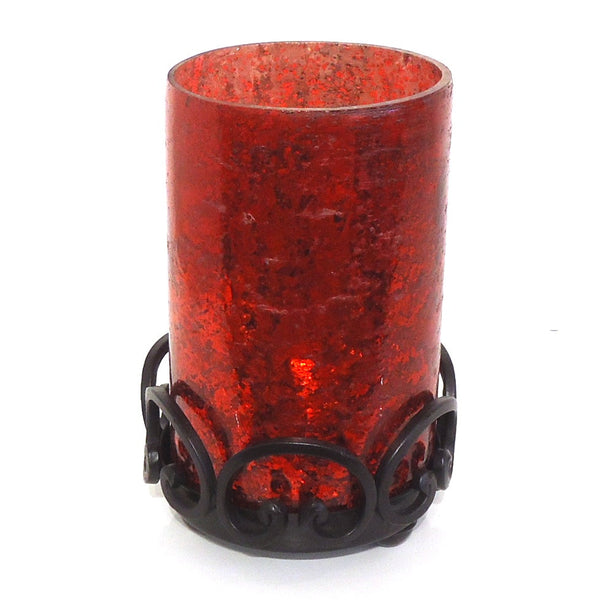 Red Glass Hurricane with Iron Base
