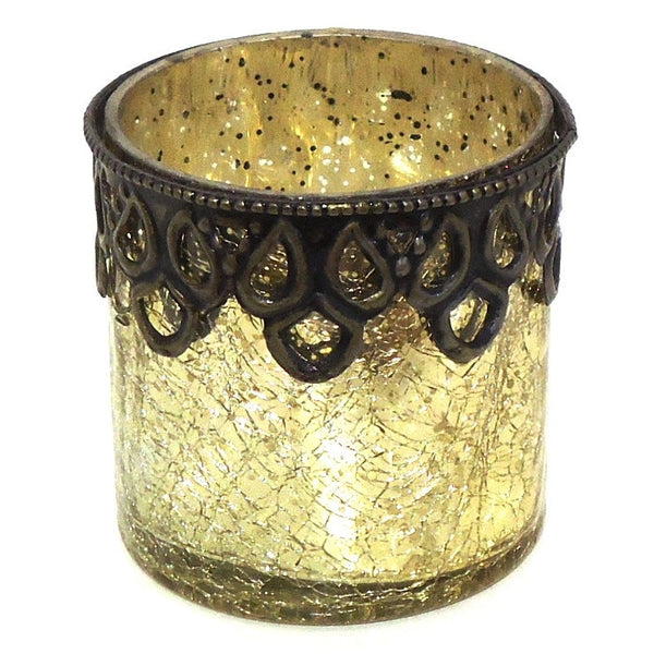 Glass with Metal Rim Votive